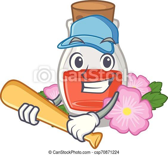 Playing baseball rosehip seed oil in cartoon bottle - csp70871224