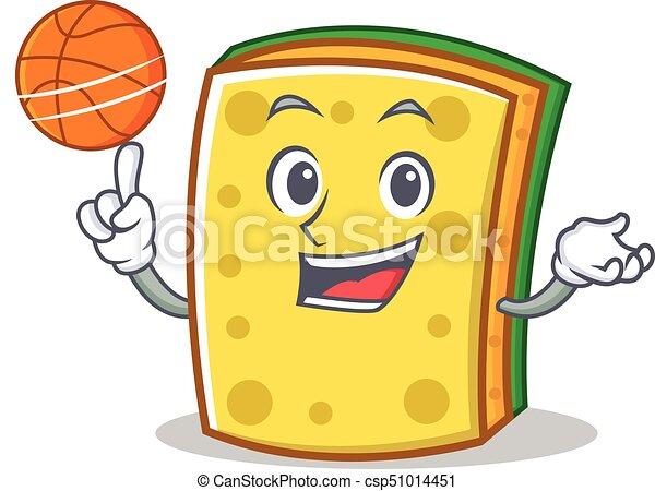 Playing Basketball Sponge Cartoon Character Funny Vector Illustration