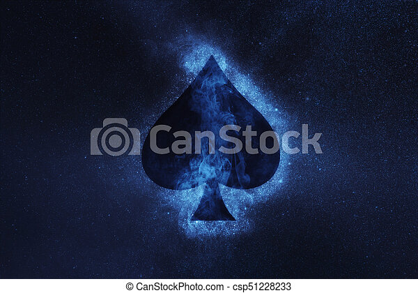 blue spade card  Playing card. Spade symbol. Abstract night sky background