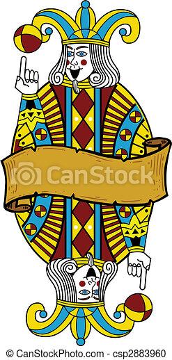 Playing card style Joker illustration - csp2883960