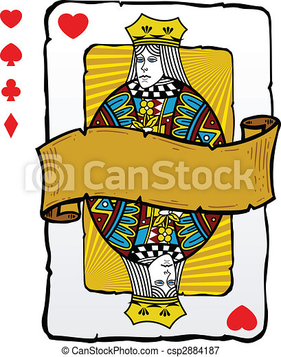 Playing card style queen illustration - csp2884187