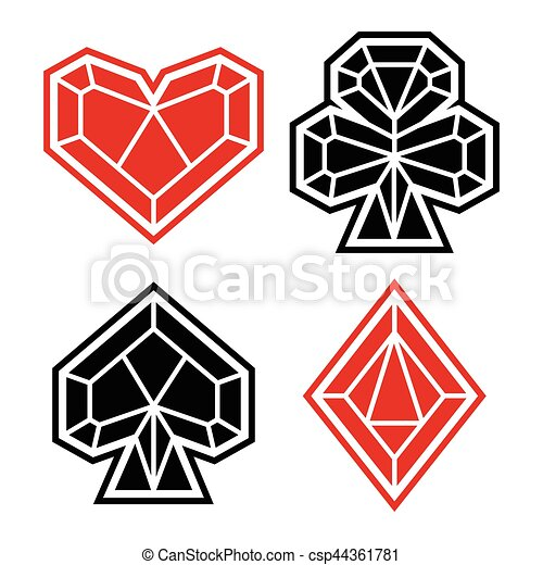 Playing Card Suits Icon Symbol Set Polygonal Style Playing Card