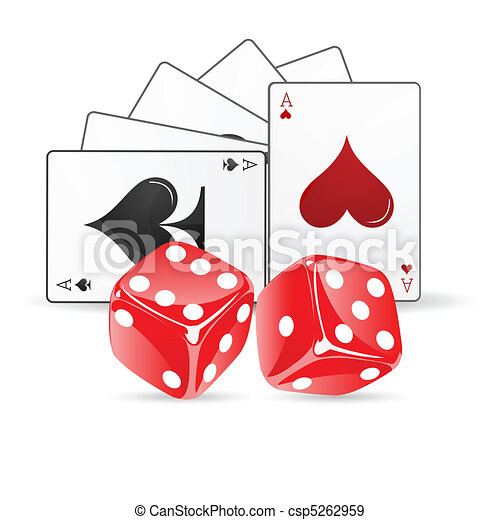 playing card with dice - csp5262959