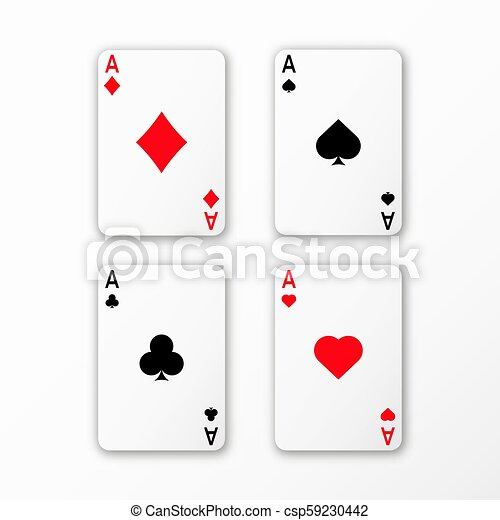 Playing Cards Ace Set Vector Casino Card 3d With Shadows Canstock