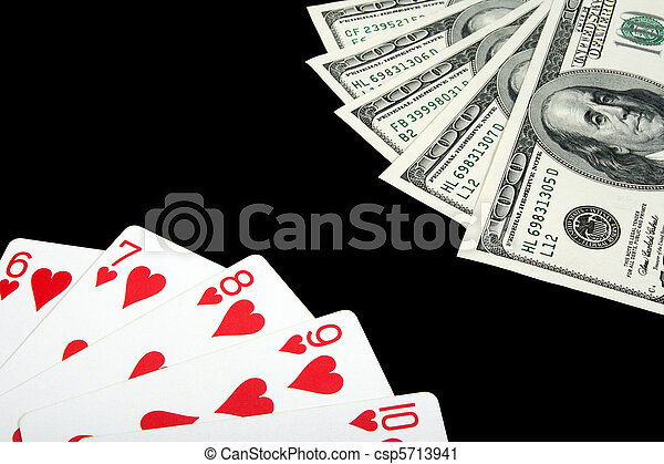 Playing cards and money on black background - csp5713941