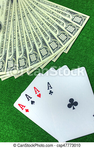 Playing cards and money - csp47773010
