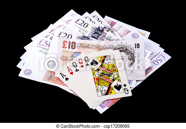 Playing cards and money - csp17208065