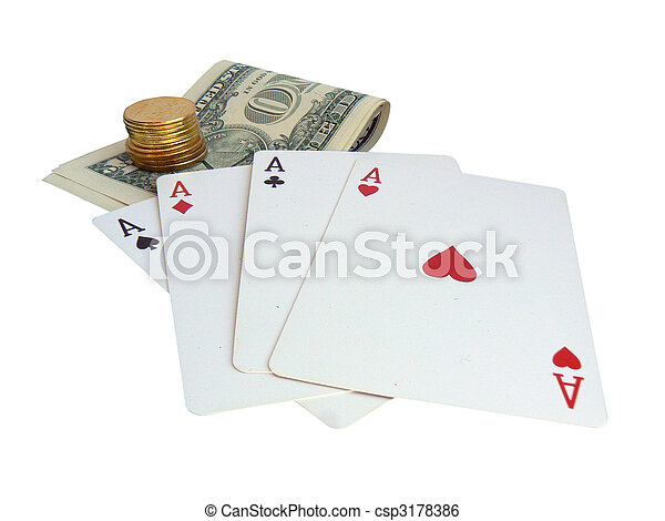 Playing cards and money - csp3178386
