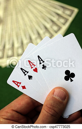 Playing cards and money - csp47773025