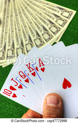 Playing cards and money - csp47772998