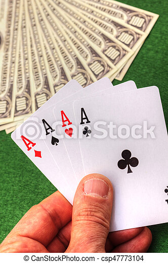 Playing cards and money - csp47773104