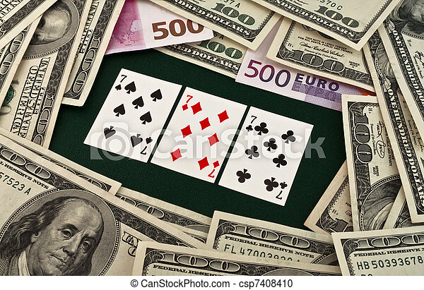 Playing cards and money - csp7408410