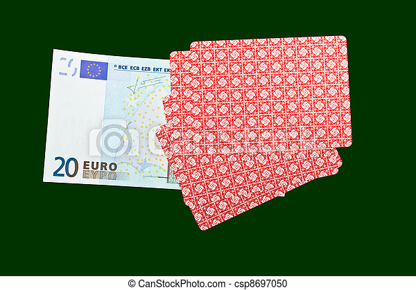 playing cards and money - csp8697050