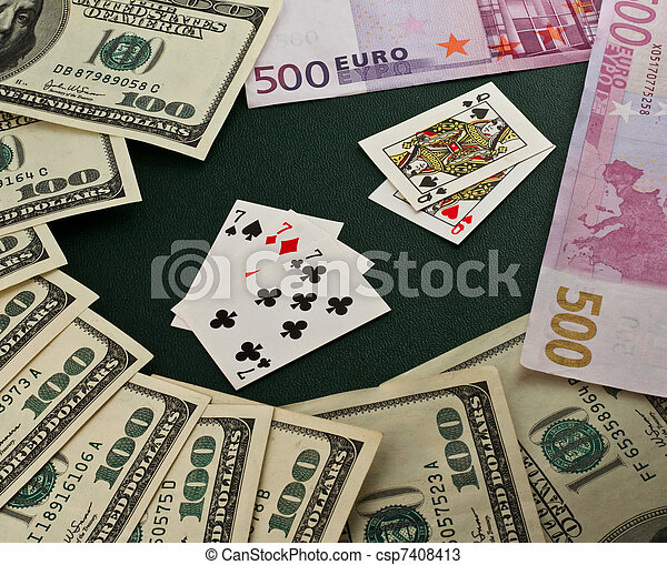 Playing cards and money - csp7408413