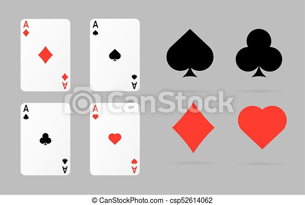 Playing Cards And Poker Symbols Set Ace Spade Heart And Diamonds Set