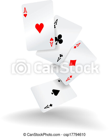 Playing cards four aces poker hand - csp17794610