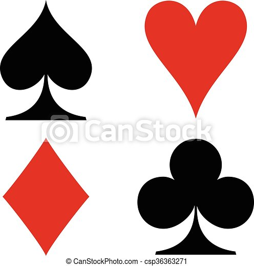 Playing Cards Four Suit Symbols Diamondheartspade And Club