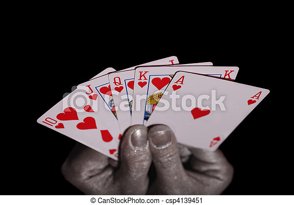 Playing cards in the silver hands - csp4139451