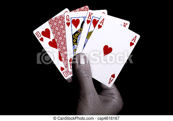 Playing cards in the silver male hand - csp4616167