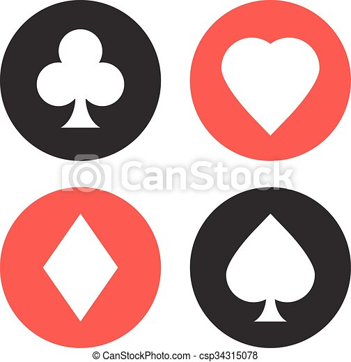 Playing Cards Suits Symbols Set Vector Icons Set