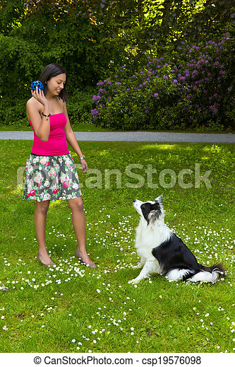 Playing fetch with a border collie dog - csp19576098