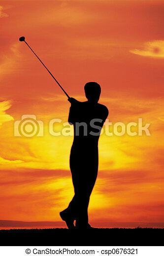 Playing golf at dawn - csp0676321