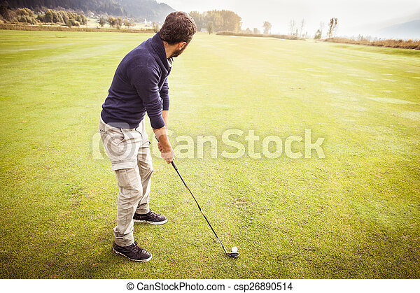 Playing in a Big golf course - csp26890514