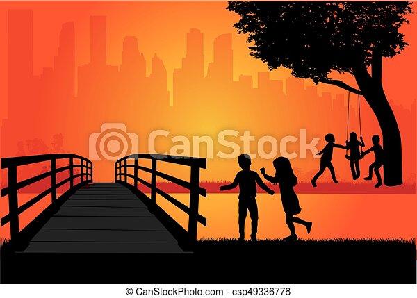 playing., silhouette, bambini - csp49336778