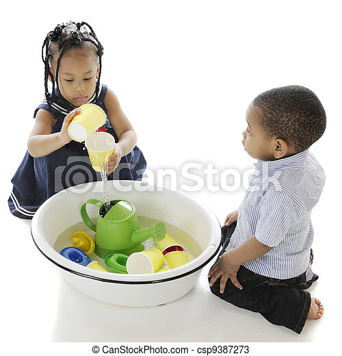 Playing Water Toys in a Tub - csp9387273