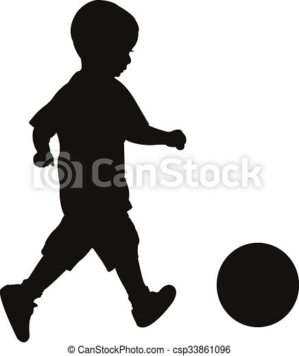 playing with ball, silhouette - csp33861096