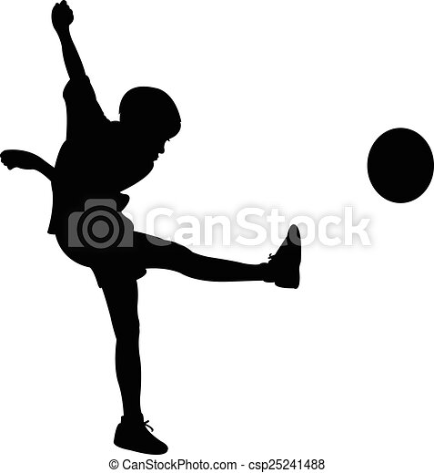 playing with ball, silhouette  - csp25241488