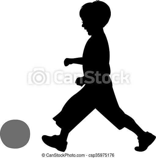 playing with ball, silhouette  - csp35975176