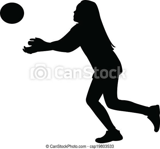 playing with ball, silhouette vecto - csp19803533
