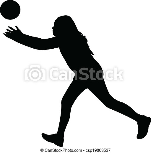 playing with ball, silhouette vecto - csp19803537