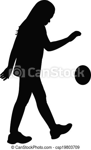 playing with ball, silhouette vecto - csp19803709