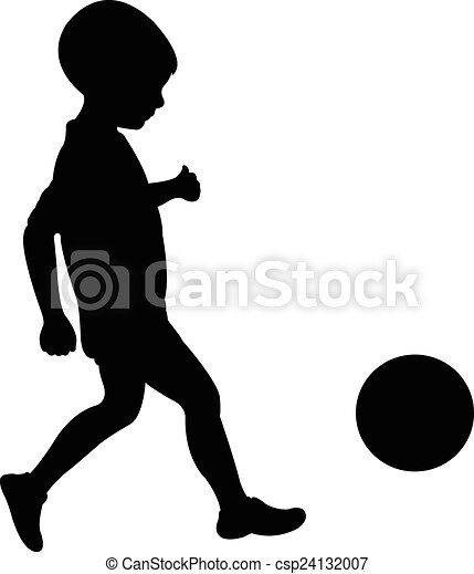 playing with ball, silhouette vecto - csp24132007