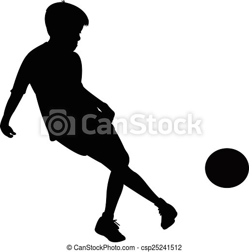 playing with ball, silhouette  - csp25241512