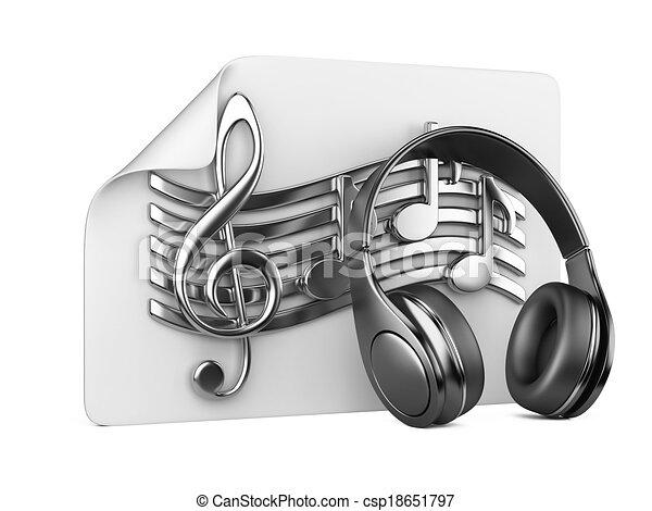 playlist, conceito, fones, notas, -, música - csp18651797
