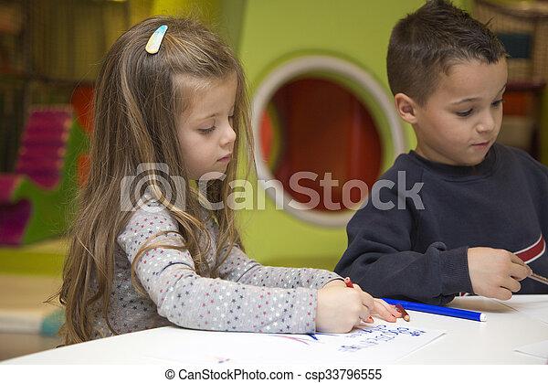 playroom, crianças, desenho - csp33796555