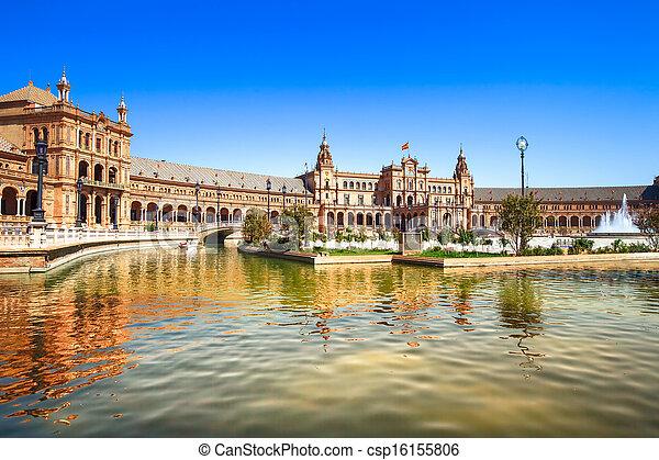 Plaza de espana Seville, Andalusia, Spain, Europe - csp16155806
