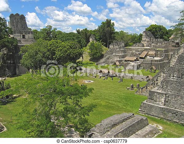 Plaza of old maya ruins in the jungle, Tikal, Guatemala - csp0637779