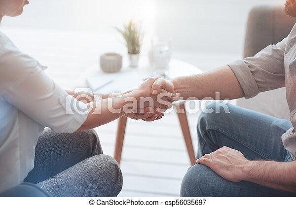pleasant friendly people shaking hands first meeting pleasant nice