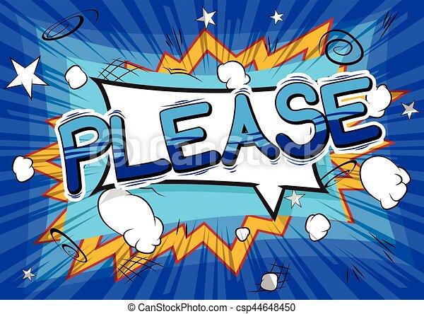 Please - Comic book style word. - csp44648450
