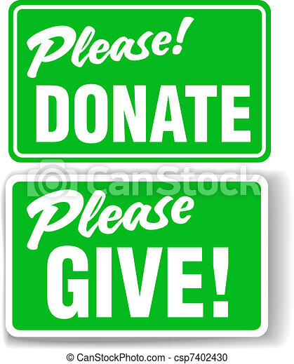 Please Donate and Give Green Sign Set - csp7402430