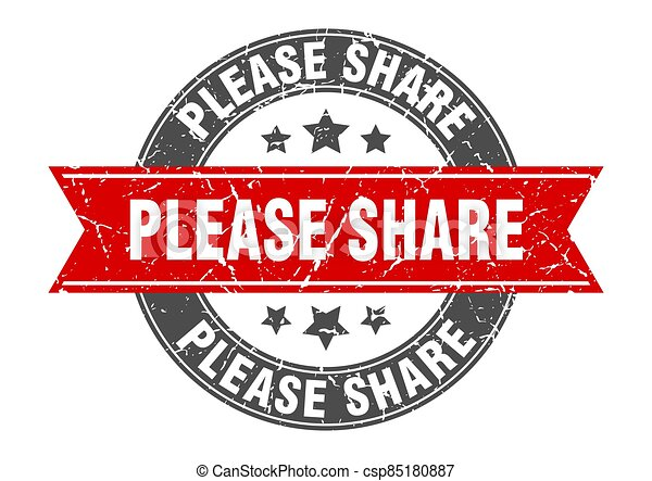 please share round stamp with ribbon. label sign - csp85180887
