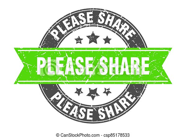 please share round stamp with ribbon. label sign - csp85178533