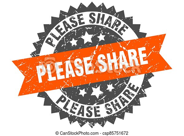 please share stamp. grunge round sign with ribbon - csp85751672