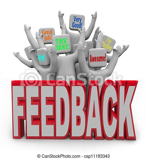 Pleased Satisfied Customers People Giving Positive Feedback - csp11183343