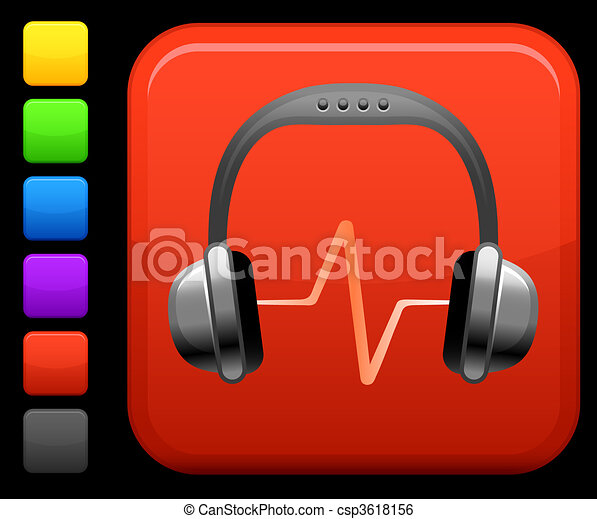 plein, knoop, headphones, internet, audio, pictogram - csp3618156