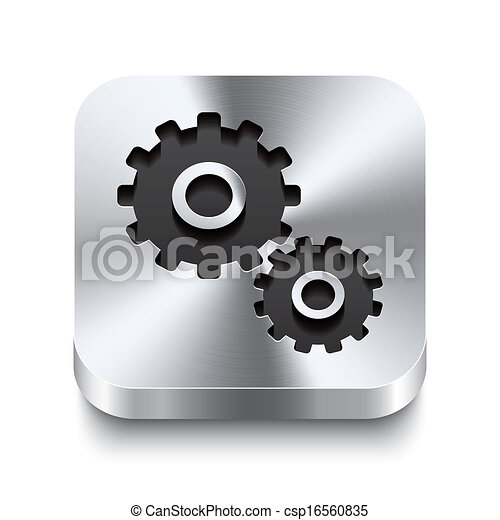 plein, tandwiel, metaal, knoop, -, perspektive, pictogram - csp16560835